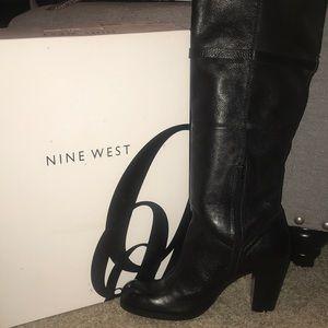 Black knee high boot